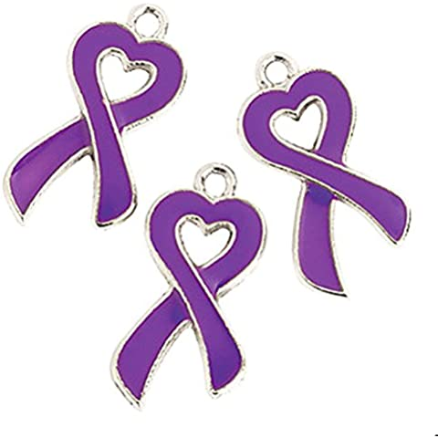 Purple Ribbon Awareness Cancer Heart Charms Lot of 36 (Purple) by Charmed By Dragons
