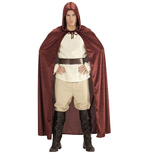 Herren Damen Halloween Umhang Cape 140cm braun Satin Samt Karneval Jedi Kostüm Mönch Robe mit Kapuze Mantel Fasching Horror Star (Kapuzen-horror Robe)