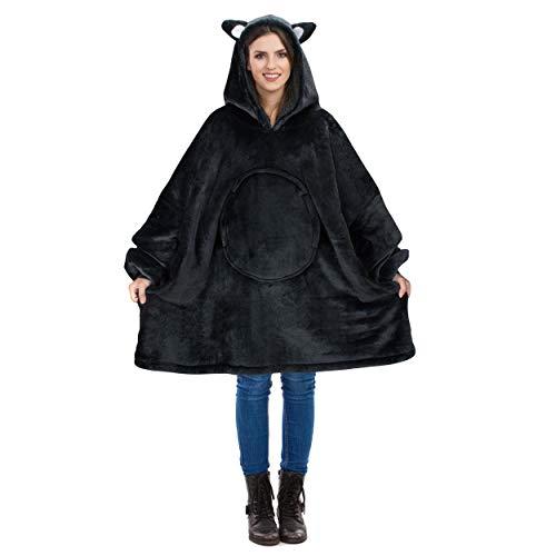 Catalonia Übergroße Sherpa Hoodie Sweatshirt Decke, Weiche Warme Riesen Hoodie Fronttasche Giant Plüsch Pullover Decke mit Kapuze for Erwachsene Männer Frauen Teenager-Studenten, Schwarze Katze