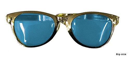 Brille MAXI-Größe goldener leicht runder Rahmen und leicht blaue Gläsern mit pinker Umrandung Fun Gag Geburtstag