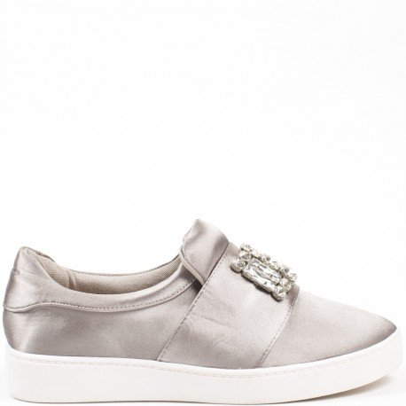 Ideal Shoes - Baskets basses avec bande incrustée de strass Taiana Gris