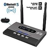 Giveet lungo raggio Bluetooth più recente V 5.0 trasmettitore ricevitore 3 in 1(TX/RX/bypass),265Ft wireless audio adapter, aptX HD& latenza bassa, dual link,Optical RCA AUX3,5mm per TV PC home stereo