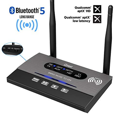 Giveet Long Range Bluetooth Latest V5.0 Transmitter Receiver 3 in 1 (TX/RX/Bypass), 265Ft Wireless Audio Adapter, aptX HD & Low Latency, Dual Link, Optical RCA AUX 3.5mm für TV PC Home Stereo (Long Range Antenne Handy)