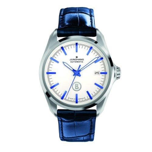 Junghans Bogner Willy Automatic 027/4280.00 - Reloj analógico automático para hombre, correa de cuero color azul (agujas luminiscentes)