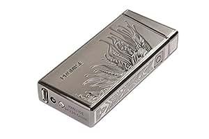 """Briquet USB haut de gamme en zinc allié, avec un élégant motif d'ail gravé, présenté dans coffret cadeau haut de gamme 3.15"""" x 0.98"""" (8cm x 2,5cm), couleur: marron foncé, Mod. 5380-03"""