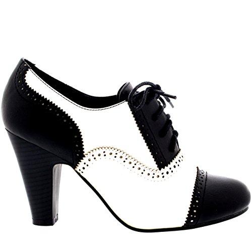 Donna Tacco Medio Serata Lavoro Mary Jane Formale Stivaletto Scarpe Nero/Bianco