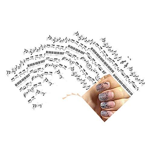 (Doitsa 5pcs Nail Sticker Musikalisches Symbol Nagel Aufkleber Wasserzeichen Nagelaufkleber Nail Tattoo Finger Toe Nailart Tips-Dekorationen)