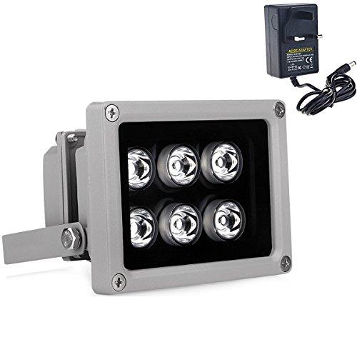 VIKYLIN IR-Beleuchtung, 850nm, mit 6 LEDs, 90°-Weitwinkel, IP67, für Überwachungskamera (einschl. 12-V-Netzteil) 850 Nm Led