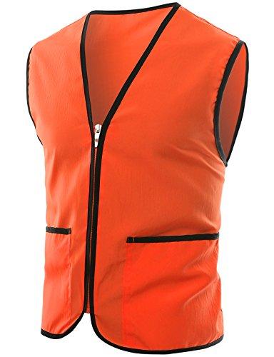 OHOO Herren Uniform mit Reißverschluss vorne und Tasche Large Orange