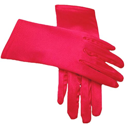 RuiyuhongE Kurz Satin Brauthandschuhe mit Finger Handgelenklänge Hochzeit Handschuhe for Abend Party (Rot) (Abend Handschuhe Damen)