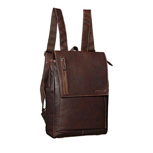STILORD 'Simon' Daypack Rucksack Leder Herren Damen Vintage Rucksackhandtasche groß Lederrucksack für Business Uni Schule A4 13 Zoll MacBook echtes Büffelleder, Farbe:cognac - dunkelbraun