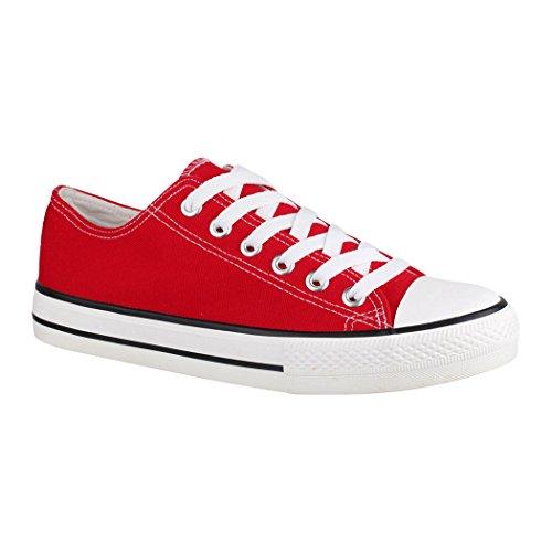 Elara Unisex Sneaker | Bequeme Sportschuhe für Herren und Damen | Low Top Turnschuh Textil Schuhe 36-46 B-YD3230-Rot-42