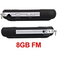 Ecloud Shop Mini Reproductor MP3 Negro 8GB FM Radio Grabadora De Voz Mic USB Flash Drive