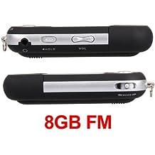 Ecloud Shop Mini Reproductor MP3 Negro 8GB FM Radio Grabadora De Voz Mic USB Flash Drive