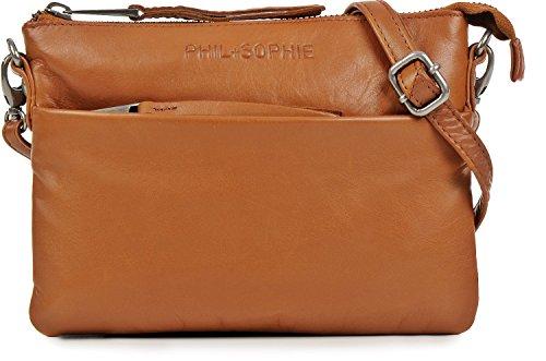 PHIL+SOPHIE, Damen Handtaschen, Abendtaschen, Clutch, Umhängetaschen, Crossover-Bags, Crossbodys, Leder, 20,5 x 14 x 2 cm (B x H x T), Farbe:Cognac (Stoff Handtaschen Cognac)