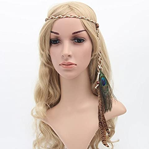 DIKEWANG Cut Hairband for Girl Bohemia Peacock Feather Headdress Headband Braid Hair Hoop Headband Lead Rope (Beige)