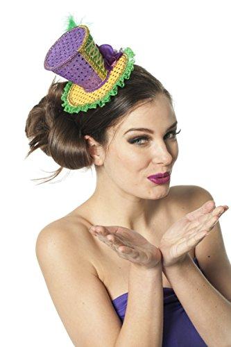ni-Hut Luxus-Zylinder Mardi Gras Brasilien Einheisgröße Lila-Gelb-Grün (Mardi Gras Hut)