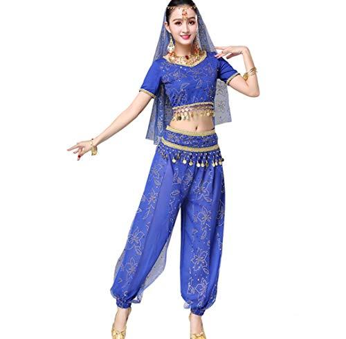 ZYLL BauchtanzkostüM FüR Erwachsene, Bollywood Dance KostüM-Sets FüR Damen Tops + Hosen + GüRtel + Schleier + Kopfbedeckungen,Blue
