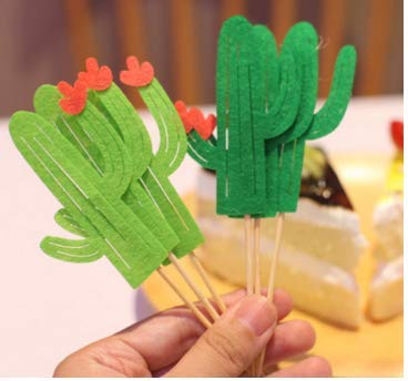 Ndier Cactus Cake Topper Set de 24 Cupcake Toppers para Hawaii Boda y cumpleaños Tema Party DIY decoración