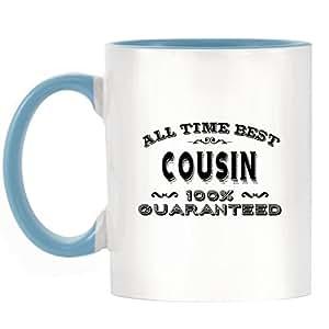 Tous les temps Meilleur Cousin Garantie à 100% Design Bicolore Mug avec poignée et intérieur Bleu clair