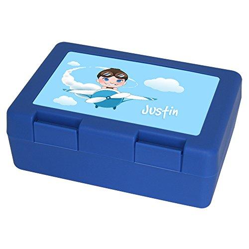 Brotdose mit Namen Justin und schönem Piloten-Motiv für Jungen | Brotbox blau - Vesperdose - Vesperbox - Brotzeitdose mit Vornamen