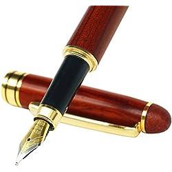Pluma estilográfica, hecha mano, madera de palisandro, estilo vintage, con relleno de tinta, punta media, estuche de piel sintética