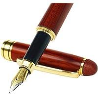MaleDen - Pluma estilográfica, hecha mano, madera de palisandro, estilo vintage, con relleno de tinta, punta media, estuche de piel sintética