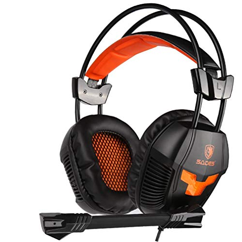 CCYOO PS4 Spiel Headset Stereo PC Gamer Gaming Kopfhörer Mit Mikrofon Für Xiaomi Handy TV Laptop Kopfhörer,Orange