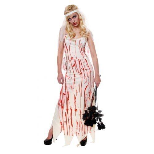 Damen Leichnam Zombiebraut Halloween Kostüm Kleid Outfit (Am Blutig, Halloween Besten Kostüme)