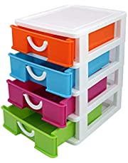 D&G ONLINE Multipurpose Modular 4 Drawer Chest Cabinet Organizer for Home, Official, Kids Room Table Top - Small Size
