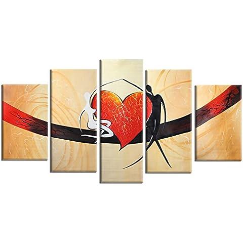 Raybre Art® 100% Pintada a mano sobre lienzo Cuadros Abstractos Modernos Grandes Rojas Corazón Mariposa Novios Pintura al óleo Vintage Regalo para boda para Arte Pared Decoración Hogar Sala Cocina Dormitorio Hotel Escuela Restaurante, Sin bastidor