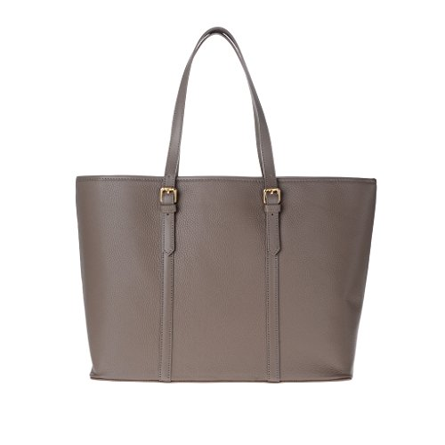 Borsa donna shopping bag Made in Italy in vera pelle dollaro a spalla con manici DUDU Taupe