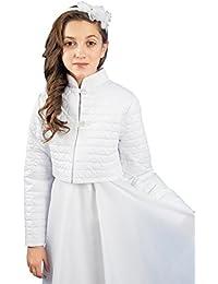 MGT-Shop Mädchen Kommunionbolero Kommunionsbolero Kommunionsjacke Kommunionjacke Cape Bolero Jacke MK-22 weiß