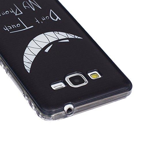 Ekakashop Coque pour Samsung Galaxy Grand Prime G530, Ultra Slim-Fit Flexible Souple Housse Etui Back Case Cas en Silicone pour Galaxy Grand Prime, Soft Cristal Clair TPU Gel imprimée Couverture Bumpe Sourire Sinister