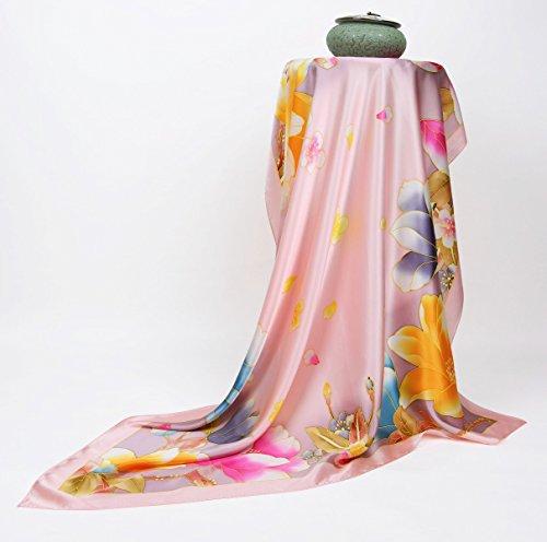 Prettystern - peint à la main foulard de soie 110cm pastels fleur motif peinture chinoise TSH12 Multicolore