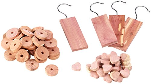 infactory Mottenschutz: 71-teiliges Zedernholz-Set für den Kleiderschrank (Mottenfalle) (Zedernholz)