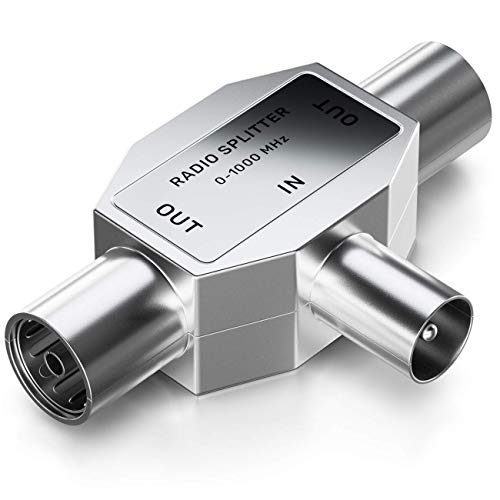 deleyCON Antennen-Verteiler T-Kupplung Zweigeräte-Verteiler für Radio T-Adapter Koax-Kupplung 2X Koax-Buchse Silber