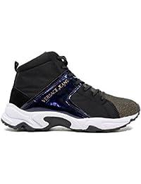 Versace Jeans talón de la zapatilla de deporte negro brillo abajo E0VOBSD2 75396 M57 Invierno 2016 nueva caída de 2017