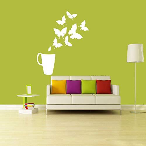 zhuziji Aufkleber Kaffee Tee Tasse Schmetterlinge Vinyl Wandaufkleber Abziehbilder Wandbilder Küche Fliesen Wandkunst Tapete Wohnkultur Haus Decor47.25x70cm