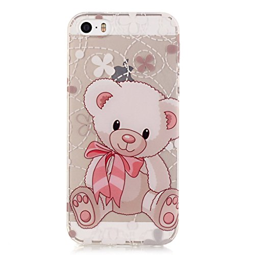 iPhone 5s Housse,iPhone SE Housse,iPhone 5 TPU Housse,Fodlon® Très mince Protection Chute / choc-Absorption avec anti-rayures TPU en silicone Case Cover pour iPhone 5 5s SE-une fleur Ours