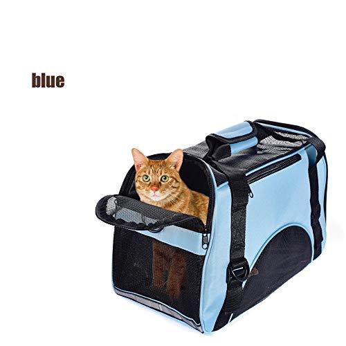 PENGYAZNZHOU Transportbox für kleine Katzen und Hunde, von der Fluggesellschaft zugelassene kleine Welpen-Reisetasche mit weichen Seiten, Mesh-Einsätze und Bett | Perfact für unter 5 Pfund Blau (Seite Mesh-einsatz)