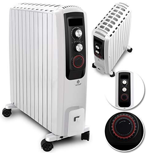 KESSER 2500W Ölradiator - elektrischer, energiesparender Heizkörper mit 10 Rippen, Timer integrierter Zeitschaltuhr 4 Heizstufen Thermostat Sicherheitsabschaltfunktion Weiß
