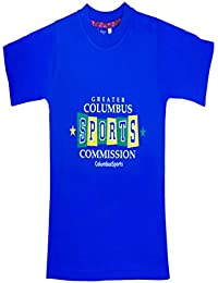 Sweet Angel Blue color round neck tshirt with columbus sports printing on front for grils