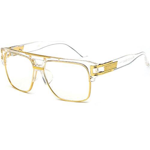 SHEEN KELLY Retro Oversized Sonnenbrille Metall Rahmen großen brille Square herren damen Eyewear hälfte frame piloten Gold Transparente brille