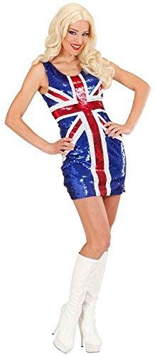Sexy Partykleid Union Jack mit Pailletten englische Flagge britisch England UK, Größe:M
