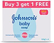 Johnson's Baby Soap For Bath Combo Offer Pack, 100g (Buy 3 Get 1 F