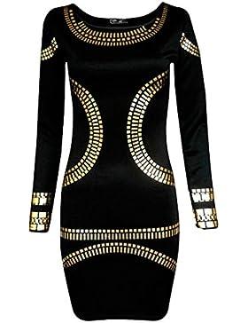 Abito corto da donna, ispirato a Kim Kardashian, stampa con lamina dorata, aderente, taglie forti, taglia40,...