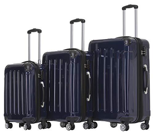 BEIBYE Zwillingsrollen 2048 Hartschale Trolley Koffer Reisekoffer Taschen Gepäck in M-L-XL-Set (Dunkelblau, Set)