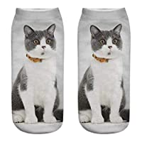 MODEOR 1 Pair Unisex Funny 3D Fashion Cat Printed Casual Socks Cute Low Cut Ankle Men Women Cotton Animals Dog Sports Stocking Harajuku Style Animal Pattern Christmas Breathable Stockings (B1)