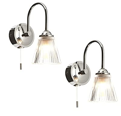 Pair of Modern Chrome &Clear Ribbed Glass IP44 Bathroom Wall Lights With Pull Cord Switch by First Choice Lighting